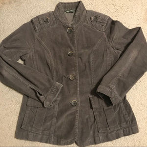 Charcoal Gray Corduroy Military-style Jacket